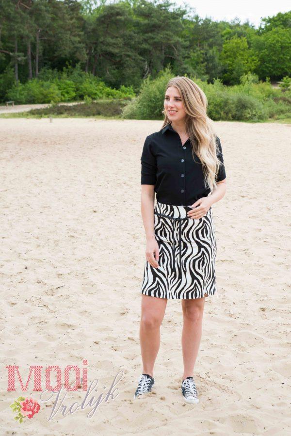 Blouse flassy zwart rok zebra print